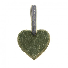 Slate heart with blue ribbon
