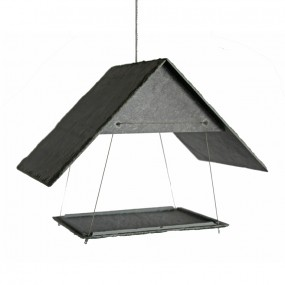 Hanging slate bird table
