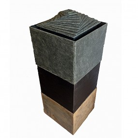 Spiral tower water feature in oak, steel and slate