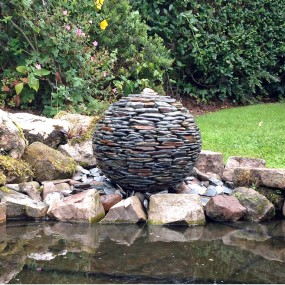 Slate ball water feature.