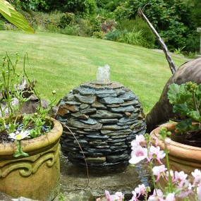 rustic slate ball water feature